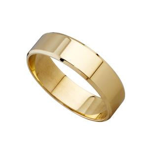 6mm 9kt Yellow Gold Bevelled Edge Wedding Band
