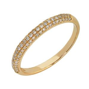 9kt Yellow Gold Pave Diamond Ring