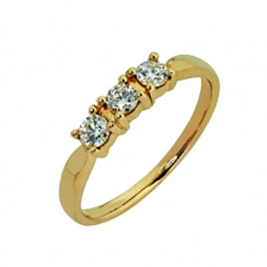 9kt Yellow Gold 3 Stone Trilogy Ring