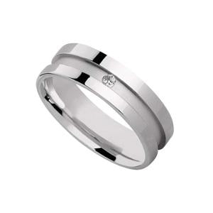 Silver Wedding Band Set with CZ stone