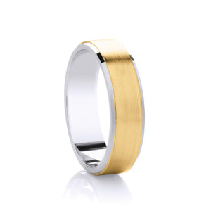 9kt Yellow Gold & Argentium Rimmed - Flat Brushed