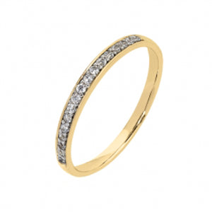9kt YG CZ Pave Straight Side Band - 1.25mm