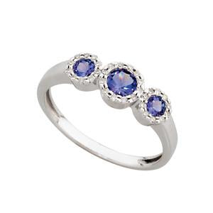 9kt White Gold 3 Stone Tanzanite and Diamond Ring