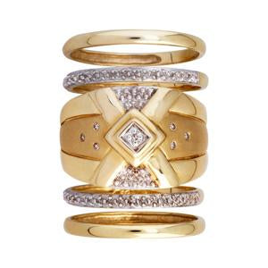 9kt yellow gold quin set dress ring