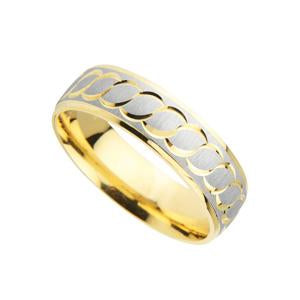 9kt Y & W Gold Fancy Wedding Band with Pattern
