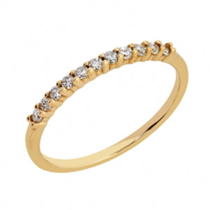 9kt Yellow Gold CZ Claw Side Band- 1.5mm