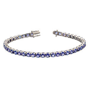 10ct Tanzanite Tennis Bracelet Set in 9kt White Gold