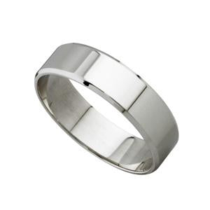 6mm 9kt White Gold Bevelled Edge Wedding Band