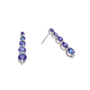 5 Stone Tanzanite Drop Earrings