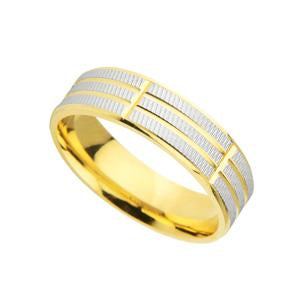 9kt Yellow and White Gold Fancy Wedding Band