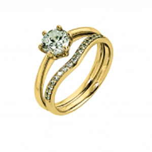 9Kt Yellow Gold CZ 6 Claw Solitaire Ring