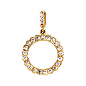 9kt Yellow Gold CZ Circle Pendant