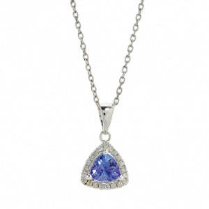 Trillion Cut tanzanite pendant