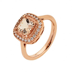 9Kt RG Cushion Morganite (7x7mm) & Diamond Ring