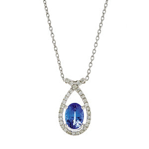 Fancy Tanzanite and Diamond Pendant