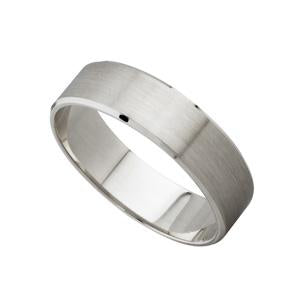 5mm 9kt White Gold Bevelled Edge Wedding Band