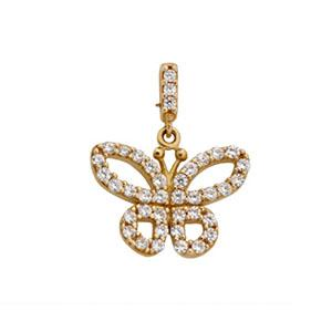 9kt Yellow Gold CZ Butterfly Pendant