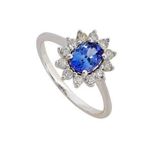 Classic Tanzanite and Diamond ring
