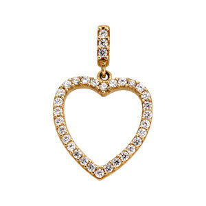 9kt Yellow Gold CZ Heart Pendant