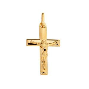 9kt Yellow Gold Crucifix Pendant 35mm