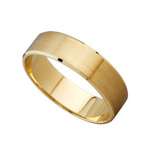 5mm 9kt Yellow Gold Bevelled Edge Wedding Band