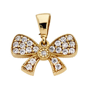 9kt Yellow Gold CZ Bow Pendant