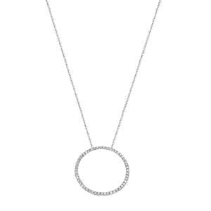 9kt White Gold Diamond Circle Pendant