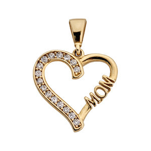 9kt Yellow Gold CZ Heart Mom Pendant