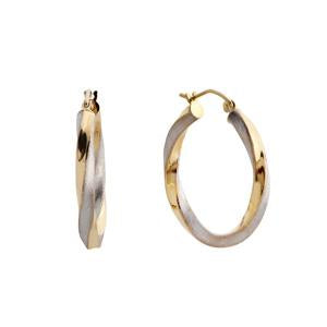 9kt Yellow and White Gold Twisted Earrings