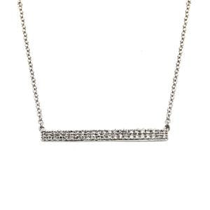 9kt White Gold Diamond Double Bar Necklace