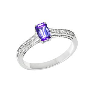 Emerald Cut Tanzanite and Diamond ring