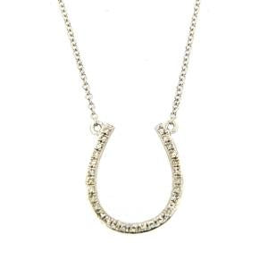 9kt White Gold Diamond Horseshoe Necklace