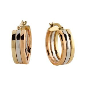 9kt Yellow, White and Rose Gold Hoop Earrings
