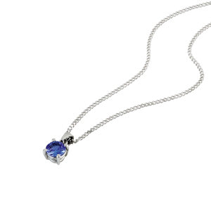 18kt White Gold 0.40ct Tanzanite Solitaire Pendant