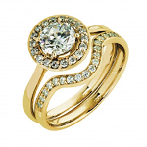9kt Yellow Gold CZ Halo Ring