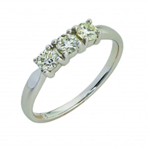 9kt White Gold 3 Stone Trilogy Ring