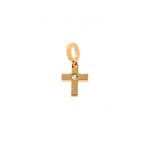 Bronze Rose Plated CZ Cross Drop