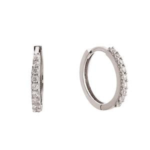9kt White Gold CZ Hoop Earrings