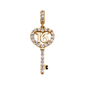 9kt Yellow Gold CZ 16 Key Pendant