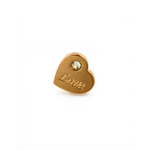 Bronze Rose Plated CZ Heart Slider