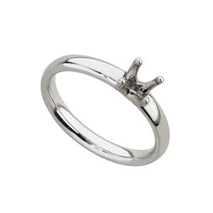 18kt White Gold Four Claw Comfort Ring Mount