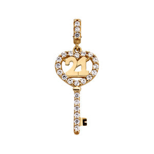9kt Yellow Gold CZ 21 Key Pendant