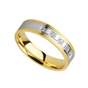 9kt Y & W Gold Fancy Wedding Band with CZ stones