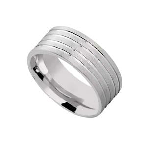 Silver Wedding Band with Matt and Grooves