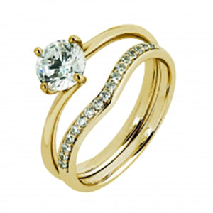 9Kt Yellow Gold CZ 4 Claw Solitaire Ring