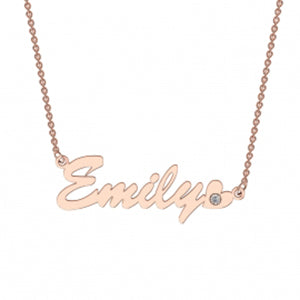 Memi Heart and Diamond Personalised Necklace