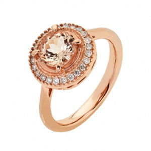 9kt RG Round Morganite (7mm) & Diamond Ring