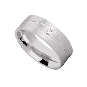 Silver Wedding Band with Pattern and CZ Stone