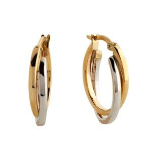 9kt Yellow and White Gold Hoop Earrings