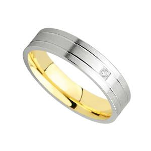 9kt Y & W Gold Fancy Wedding Band with CZ stone